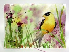 Easy Watercolor Tutorial: Goldfinch | The Frugal Crafter