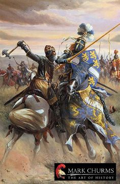 In Single Combat - The Battle of Bannockburn by Mark Churms (showing Robert the Bruce about to split Humphrey de Bohun's head in half)
