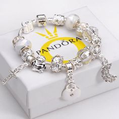 Xmas-Gift-Ladies-Fashion-Jewelry-925-Sterling-Silver-Bracelet-Charm-Bangle