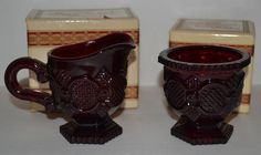 Avon 1876 Cape Cod Collection Ruby Red Vintage Glass Sugar Bowl & Creamer Dish #AvonCapeCodCollection