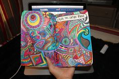 art trippy tumblr colorful color wreck this journal keri smith macbook pro pen geometric lighter page markers wtj color this entire page