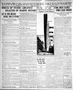 Titanic: Denver Post coverage from 1912 Titanic Wreck, Rms Titanic, Titanic Photos, Titanic History, Denver Post, Headline News, Newspaper, Fisher, Colorado