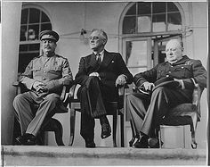 Franklin Roosevelt, Winston Churchill, Joseph Stalin. Love this picture. Everyone's personality reflected and good ol' Uncle Joe looking like he's up to somthing...