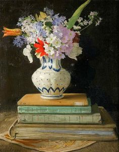 William Nicholson Flowers with Books 1927