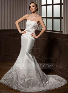 Trumpet/Mermaid Sweetheart Court Train Satin Wedding Dress With Lace Beading (002000108) - JJsHouse