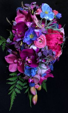 Jewel Toned Cascading Bridal Bouquet with Orchids, Peonies, Roses, and Ferns - MyStyles Wildflower Bridal Bouquets, Cascading Bridal Bouquets, Bridal Bouquet Fall, Purple Wedding Bouquets, Blush Wedding Flowers, Flower Bouquet Wedding, Bouquet Bleu, Orchid Bouquet, Bouquet Flowers