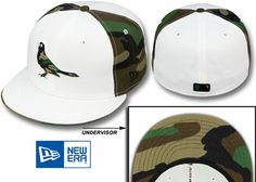 Orioles 'COLOR BLOCK' White/Army Camo Fitted Hats by New Era - Size 7.25