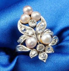 Edwardian Diamond and Pearl Ring, platinum-topped gold mount, size 4 1/2., signed M&Co (attrb Marcus & Co)  / Skinner