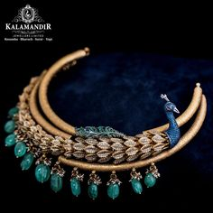 As beautiful & graceful as a peacock, this choker is the most unique design that you are going to adore. A blend of colourful stones and hangings is going to make you look stylish & gorgeous like never before. Jewelry Design Earrings, Gold Jewellery Design, Fancy Jewellery, Designer Earrings, Necklace Designs, Gold Jewelry Simple, Stylish Jewelry, Antique Jewellery Designs, Antique Jewelry