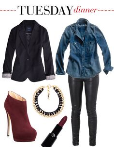 Blazer and leather leggings (black, blue, burgundy) perfect work outfit!