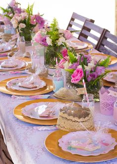 Lovely table at a Princess Birthday Party!  See more party ideas at CatchMyParty.com!