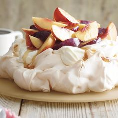 NECTARINE AND PLUM PAVLOVA, a delicious recipe in the new M&S app.
