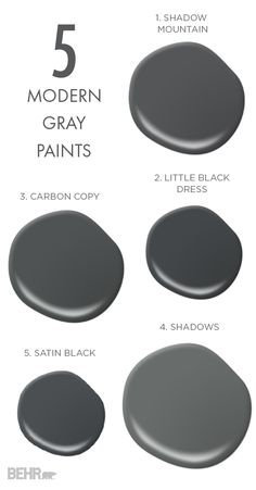 Nothing beats a bold neutral and that's what these 5 modern gray paints are here to prove! Try out Carbon Copy, Satin Black, Shadows, Little Black Dress, or Shadow Mountain for a dramatic makeover to any room of your home.