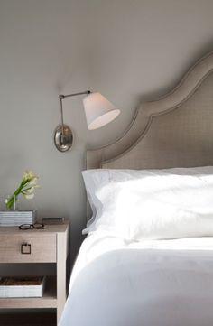 Restful neutrals, bedside table, swing arm reading light