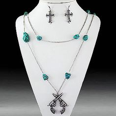 Gun With Turquoise Stone Necklace & Earring Set-Silver/Turquoise/Clear