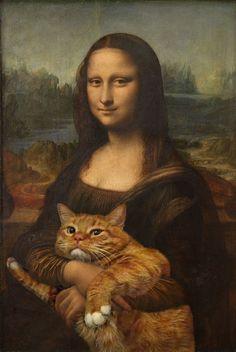 Russian Artist Inserts Her Fat Cat Into Iconic Paintings /Mona Lisa by Leonardo da Vinci (1503-1506)