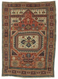 Karabagh prayer rug, southern Caucasus, dated 1807. 100 x 140cm. Zaleski Collection