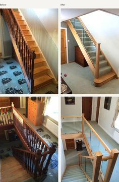 Before and after glass and wood staircase renovations - Medlock Staircases Wood Staircase, Staircase Remodel, Modern Staircase, Staircase Ideas, Hallway Ideas, Staircases, Staircase Interior Design, Interior Stair Railing, Home Stairs Design