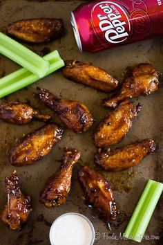 Dr Pepper Hot Wings Recipe - These crispy baked chicken wings are loaded with flavor from a special ingredient – Dr Pepper! Wings are tossed in a sticky sweet & spicy glaze, making them perfect to serve as a part of your game day spread. Crispy Baked Chicken Wings, Sticky Chicken Wings, Grilled Chicken Wings, Chicken Bites, Boneless Chicken, Chicken Wing Recipes, Chicken Wing Flavors, Chicken Wing Sauces, Turkey Recipes