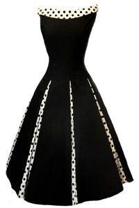 Classy New Black Rockabilly 1950's Vintage Swing Evening Dress