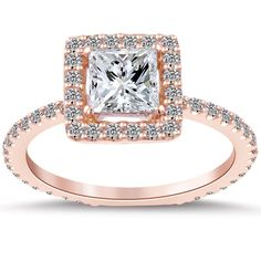 Engagement Ring Rose Gold Pave 31