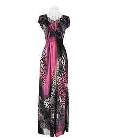 Dantiya Women's Plus Size Leopard Print V Neck Beach Summer Maxi Dress (XXL, 1)