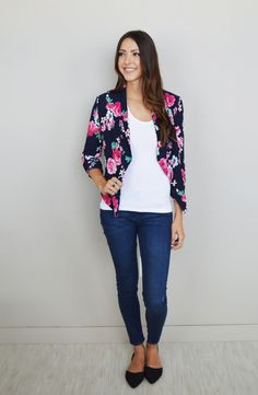 Navy Everyday Floral Blazer - Obsessions Boutique
