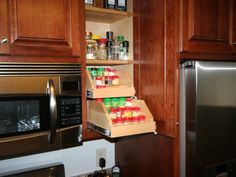 Photo of  project in Minnesota by Joseph Otto Enterprises Kitchen Organization Pantry, Kitchen Pantry Cabinets, Kitchen Storage Solutions, Kitchen Cabinet Storage, Prep Kitchen, Upper Cabinets, Storage Cabinets, Kitchen Appliances, Cabinet Spice Rack
