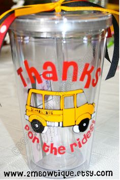 Thanks For The Rides....Tumbler Cup for Bus Drivers. Free personalization. Great Gift Idea.