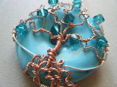Tree of Life Pendant - Turquoise - Copper and Swarovski Crystals - Blue Ocean