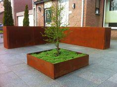 Voortuin van basalt en cortenstaal met de oprit van cortenstaal en hardsteen. Als beplanting nothofagus uit de orde Fagales dat bestaat uit 35 soorten bomen.