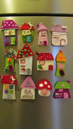 House ornament, Set of eight, Felt House decoration , Decoration for wallâ? Hobbies And Crafts, Diy And Crafts, Craft Projects, Crafts For Kids, Crafts With Felt, Felt Embroidery, Felt Applique, Felt Christmas Ornaments, Christmas Crafts