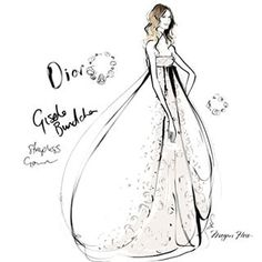 Happy Birthday @gisele!! This is my sketch of Gisele in Dior taken from my book THE DRESS -- Megan Hess