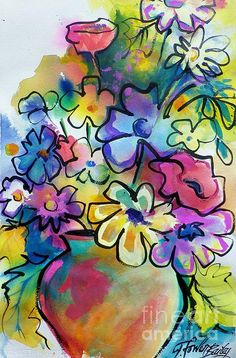 Colorful...(Make a colorful background then draw your flowers)