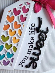 Tag by Lisa Addesa. Confetti Cuts: Fancy Words, Topped Off Tag and Heart Tag Toppers. Thank you card. Handmade Tags, Greeting Cards Handmade, Card Tags, Gift Tags, Confetti Cards, Fancy Words, Crate Paper, Friendship Cards, Card Sketches