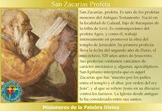 MISIONEROS DE LA PALABRA DIVINA: SANTORAL - SAN ZACARÍAS PROFETA