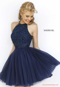 Sherri Hill Short Halter Top Tulle Dress 32335