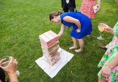 Oversized Jenga, perfect for an outdoor cocktail hour and reception