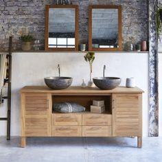 Meuble Salle de bain en bois de chªne et céramique 120 Easy TIKAMOON