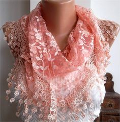 want to DIY a lace ombre spring scarf like this