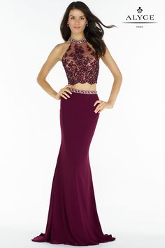 Be the life of the party at your next event in this Two Piece Keyhole Back Rhinestone Embellished Prom Dress by Alyce Paris. This style features a high collar halter neckline with multi color rhinestones, a lace bodice with floral appliques, and a ke Fashion Vestidos, Dress Vestidos, Designer Prom Dresses, Applique Dress, Prom Girl, Two Piece Dress, Special Occasion Dresses, Evening Dresses, Grad Dresses