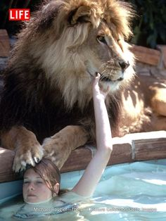Melanie Griffith with Neil, the lion, 1971.