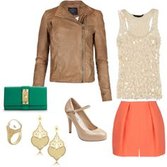 Going out, Spring. Love the jacket and skirt color.