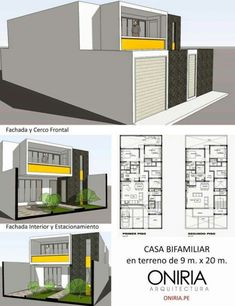 Up-Down duplex idea with attached parking. Modern House Plans, Small House Plans, House Floor Plans, Villa Design, House Design, Architectural House Plans, Casas Containers, Moraira, House Elevation