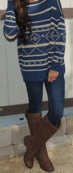 Blue sweater and boots