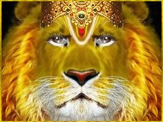 "Shri Narasimhadeva ॐ  Artist: Kaliya Krishna das    Prahlada Maharaja said:   ""O my Lord, full of six opulences, O Supreme Person! O Supreme Soul, killer of all miseries! O Supreme Person in the form of a wonderful lion and man, let me offer my respectful obeisances unto You.""~Shrimad Bhagavatam 7.10.10  Shri Narasimhadeva ॐ  Artista: Kaliya Krishna das"
