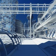 Extremely detailed 3d model of a realistic cityscape of the future. Max 2011 Version