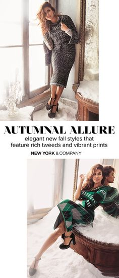 Get glam this Fall with the Eva Mendes collection by New York & Company. Cozy just got upgraded in the form of textured prints, intricate lace details and just the right amount of shimmer.