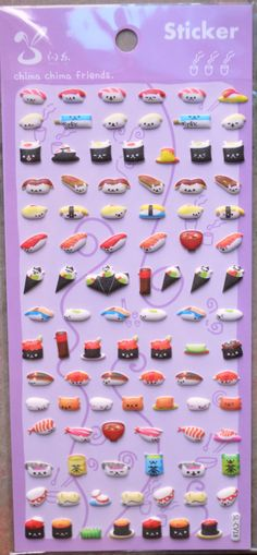 Japanese korean puffy sticker sushi by collectinglife on etsy