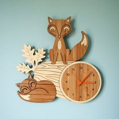 Fox Clock Wood Bamboo Woodland Animal Wall door graphicspaceswood